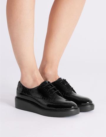 Marks & Spencer Leather Flatform Brogue Shoe Black