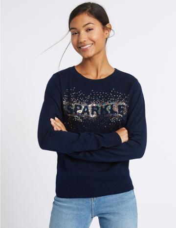 Marks & Spencer Sparkle Round Neck Jumper Navy Mix