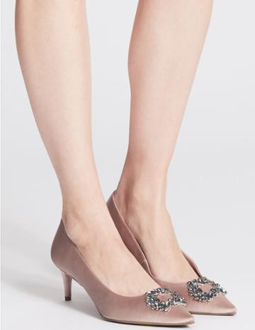 Marks & Spencer Kitten Heel Embellished Court Shoes Blush