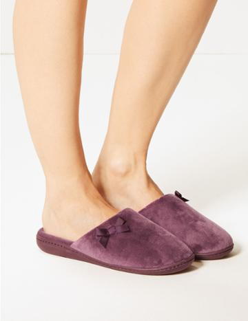 Marks & Spencer Bow Mule Slippers Purple