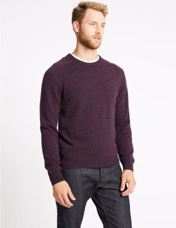 Marks & Spencer Pure Extra Fine Lambswool Crew Neck Jumper Plum