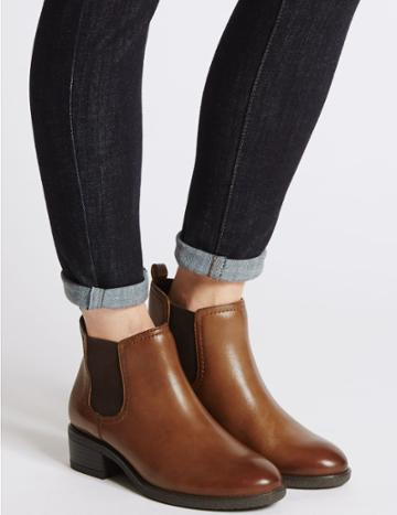 Marks & Spencer Wide Fit Leather Chelsea Ankle Boots Tan
