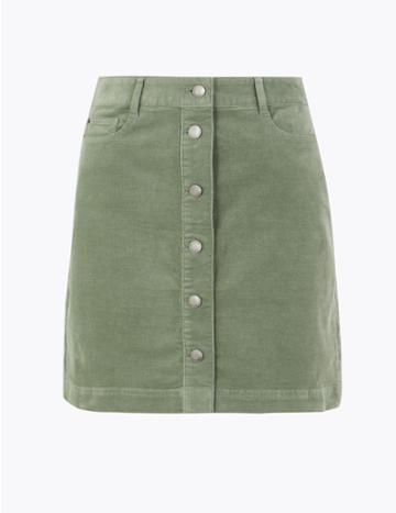 Marks & Spencer Corduroy Button Front A-line Mini Skirt