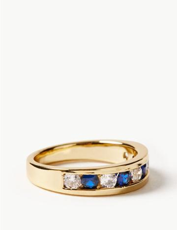 Marks & Spencer Gold Plated Stone Set Ring Blue Mix