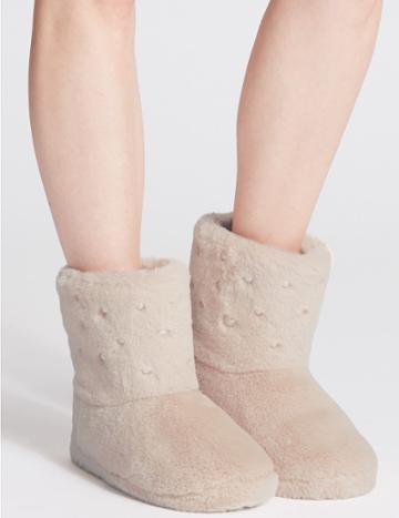 Marks & Spencer Pearl Detail Slipper Boots Light Grey