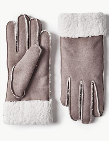 Marks & Spencer Faux Shearling Gloves Grey