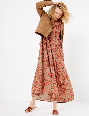 Marks & Spencer Pure Cotton Printed Tiered Shirt Maxi Dress Caramel Mix