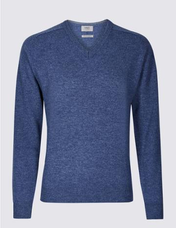 Marks & Spencer Pure Extra Fine Lambswool V-neck Jumper Medium Blue