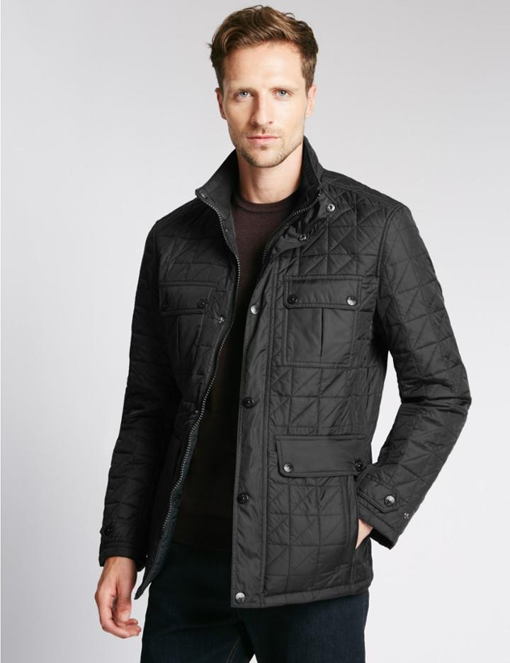 Marks & Spencer Quilted Jacket With Stormwear™ Black