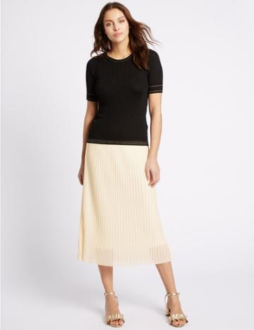 Marks & Spencer Pleated A-line Midi Skirt Antique Cream