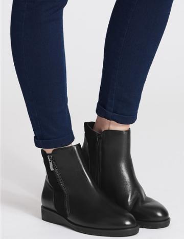Marks & Spencer Leather Side Zip Ankle Boots Black