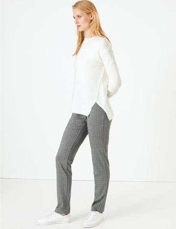 Marks & Spencer Jersey Herringbone Slim Fit Trousers Black Mix