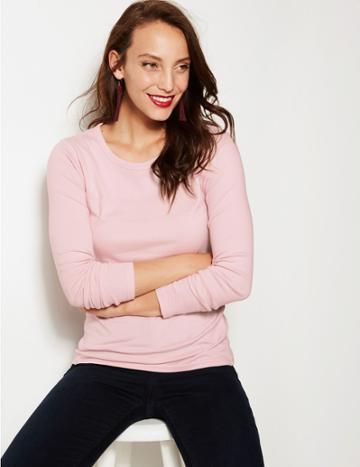 Marks & Spencer Pure Cotton Long Sleeve Regular Fit T-shirt Blush