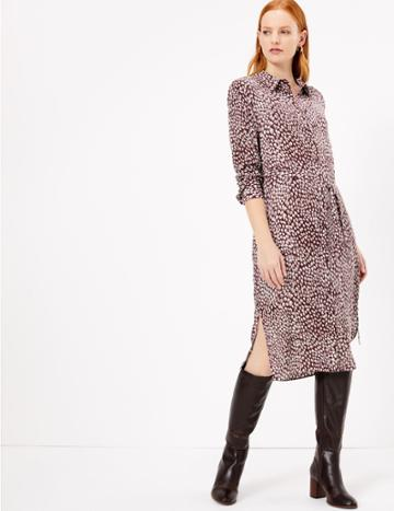 Marks & Spencer Pure Silk Printed Shirt Midi Dress
