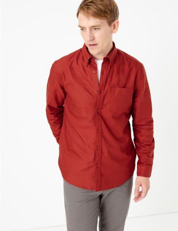 Marks & Spencer Pure Cotton Oxford Shirt With Pocket Rust