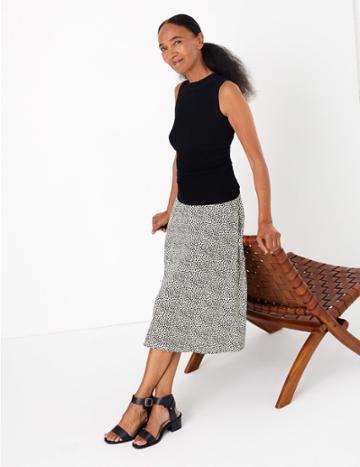 Marks & Spencer Jersey Spot Print Midi Skirt Ivory