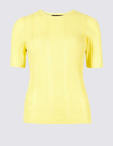 Marks & Spencer Round Neck Short Sleeve Jumper Lime