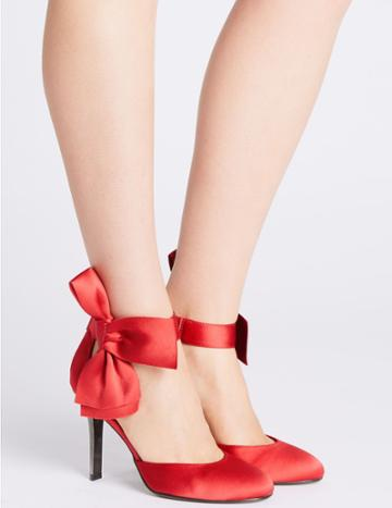 Marks & Spencer Stiletto Bow Satin Two Part Court Shoes Red