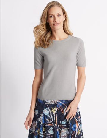 Marks & Spencer Round Neck Short Sleeve Jumper Silver Grey