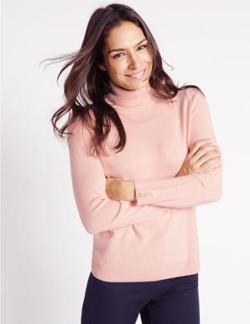 Marks & Spencer Cashmilon™ Polo Neck Jumper Blush Pink