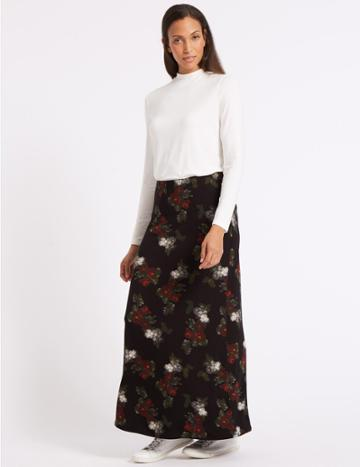 Marks & Spencer Jersey Maxi Skirt Black Mix