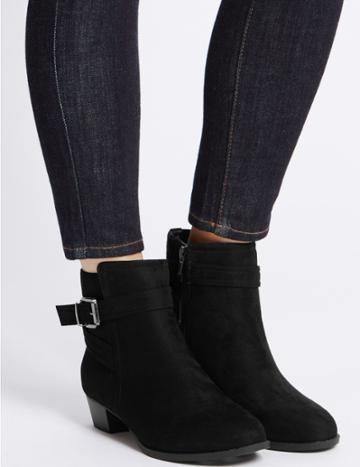 Marks & Spencer Block Heel Strap Ankle Boots Black