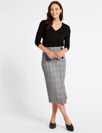 Marks & Spencer Checked Pencil Skirt Pink Mix