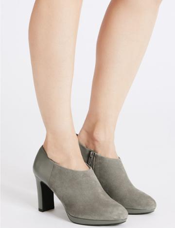 Marks & Spencer Wide Fit Suede Block Heel Shoe Boots Grey Mix