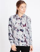 Marks & Spencer Supersoft Printed Dipped Hem Hooded Top Graphite
