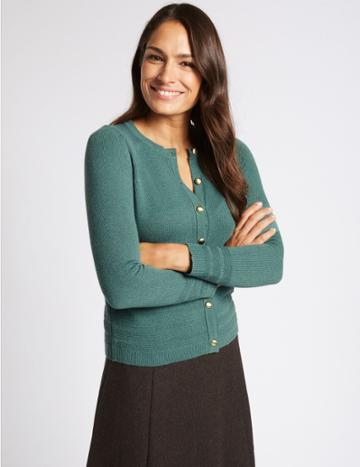 Marks & Spencer Lambswool Blend Round Neck Cardigan Petrol Green