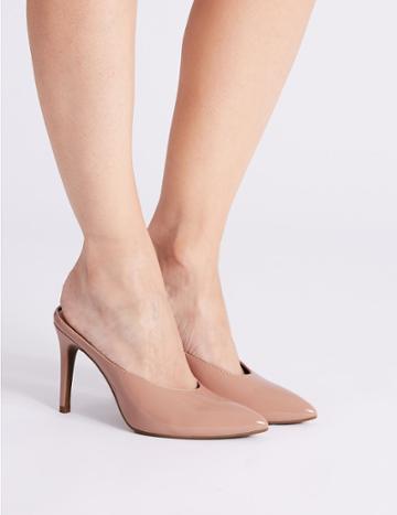 Marks & Spencer Stiletto Heel Pointed Mule Shoe Nude