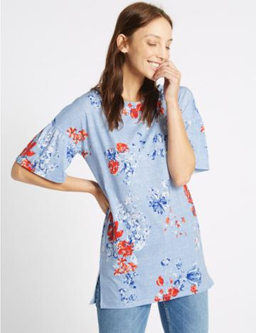 Marks & Spencer Floral Print Round Neck Half Sleeve Tunic Blue Mix