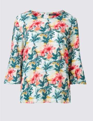 Marks & Spencer Floral Print 3/4 Sleeve Shell Top Green Mix