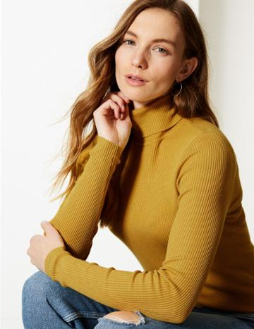 Marks & Spencer Ribbed Polo Neck Jumper Honey
