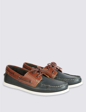 Marks & Spencer Leather Lace-up Boat Shoes Brown Mix