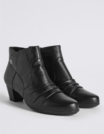 Marks & Spencer Wide Fit Leather Ruched Stud Ankle Boots Black