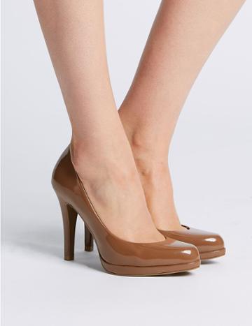 Marks & Spencer Stiletto Heel Platform Skin Tone Court Shoes Mocha