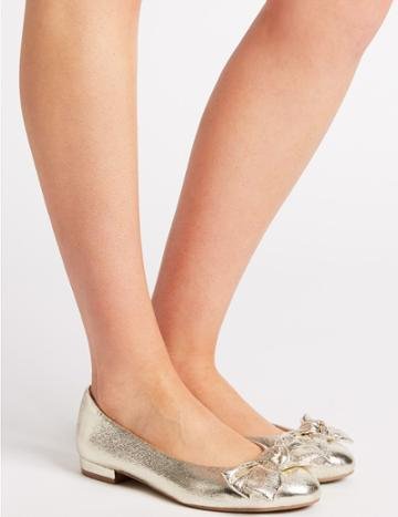 Marks & Spencer Extra Wide Fit Bow Ballet Pumps Metallic