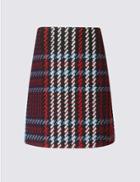 Marks & Spencer Checked A-line Mini Skirt Black Mix
