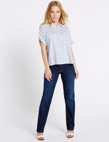 Marks & Spencer Petite Mid Rise Straight Leg Jeans Medium Indigo