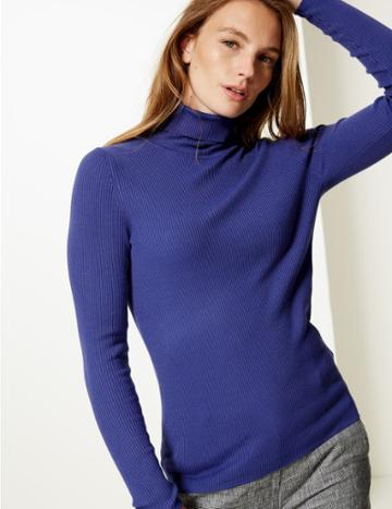 Marks & Spencer Ribbed Polo Neck Jumper Ultraviolet