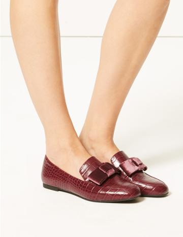 Marks & Spencer Square Toe Loafers Wine