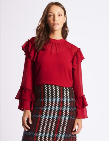 Marks & Spencer Round Neck Frill Sleeve Blouse Lipstick