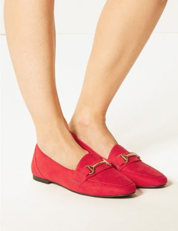 Marks & Spencer Wide Fit Metal Trim Loafers Red