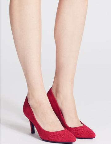 Marks & Spencer Suede Stiletto Heel Slip-on Court Shoes Red