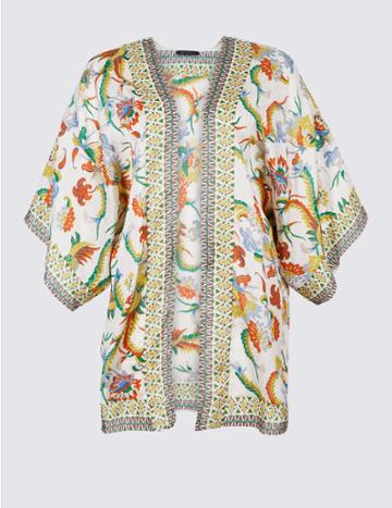 Marks & Spencer Curve Printed 3/4 Sleeve Kimono Cream Mix