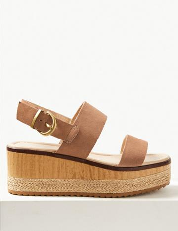 Marks & Spencer Wide Fit Suede Two Band Sandals Mink