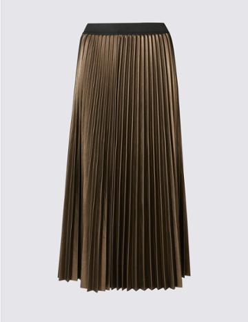 Marks & Spencer Pleated Midi Skirt Gold/bronze