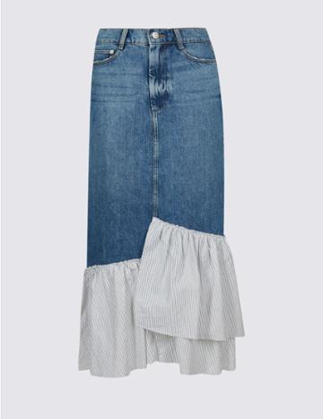 Marks & Spencer Pure Cotton Striped Frill Denim Midi Skirt Medium Blue
