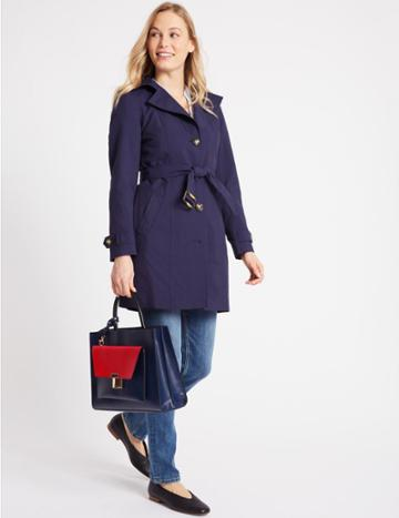 Marks & Spencer Faux Leather Tote Bag With Removable Clutch Navy Mix